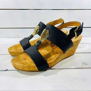 Tommy Hilfiger Cork Wedge Black Strap Sandals
